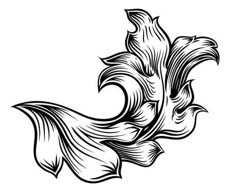Floral Filigree Pattern Scroll Heraldry Design Иллюстрация