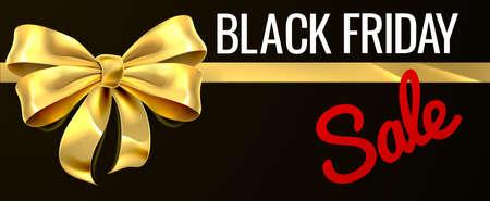 Oferta de viernes negro Diseño de cinta dorado de regalo de oro