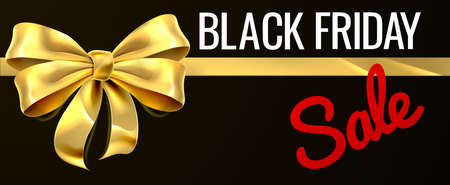 Black Friday Sale Gold Gift Bow Ribbon Design