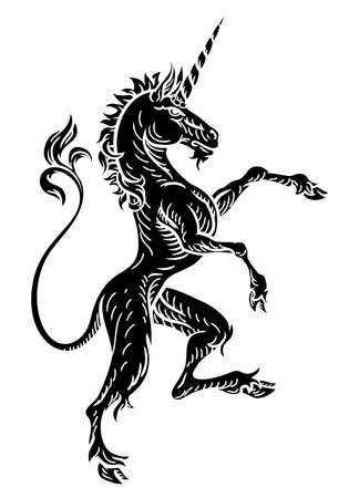 Unicorn Heraldic Crest Coat of Arms vector.