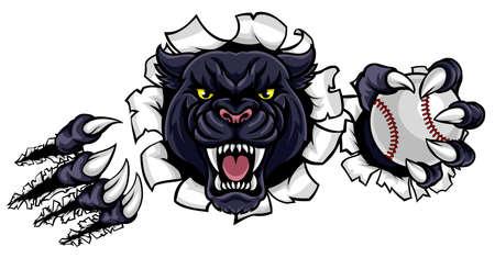 Black Panther Baseball Mascot Breaking Background Stock Illustratie