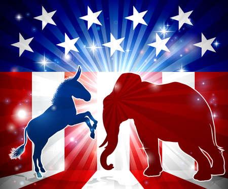 Esel gegen Elefanten Silhouetten. Vektorgrafik
