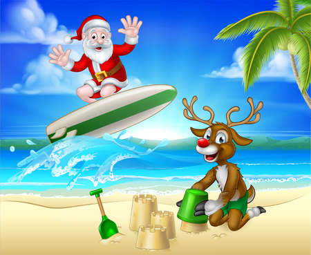 Santa Surfing and Reindeer on Tropical Beach. Vectores