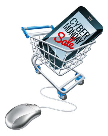 A Cyber Monday sale sign on a mobile phone in a supermarket shopping cart trolley with a computer mouse attached. Concept for online offers promotion. Çizim