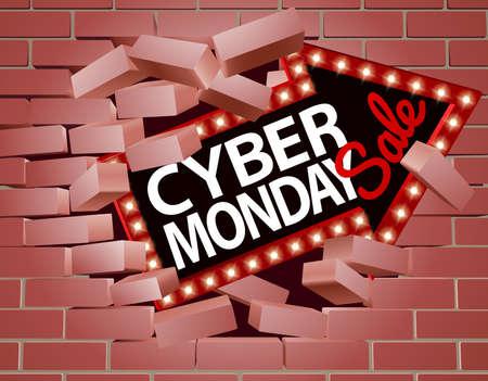 Cyber ??Monday Sale Arrow Rompiendo a través de la pared Foto de archivo - 88084744