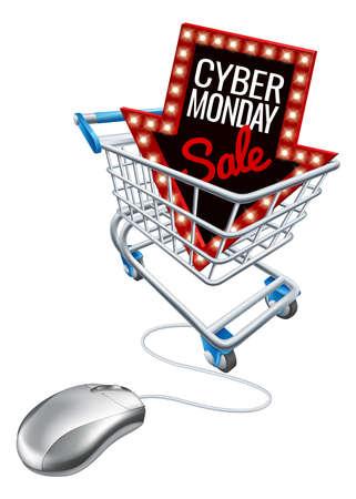 Cyber Monday Sale Online Trolley Computer Mouse Çizim