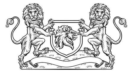 Emblème de bouclier de blason héraldique de lion Banque d'images - 88187751