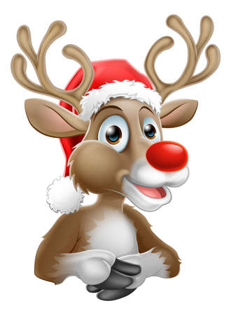 Cartoon Reindeer With Christmas Santa Hat. Illustration