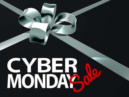 Cyber ??Monday Sale Silver Ribbon Gift diseño del arco Foto de archivo - 88283020