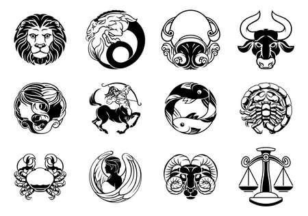Zodiac horoscope star signs icon set