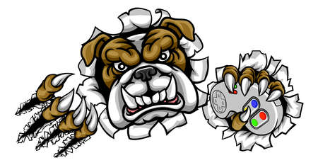 Bulldog Esports Gamer Mascot Illustration