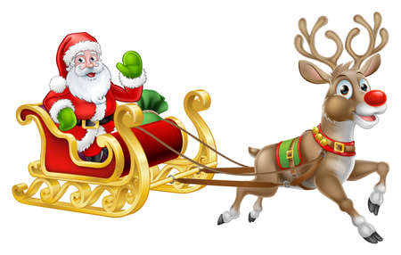 Christmas Santa Claus Sleigh Sled Reindeer Stock Illustratie