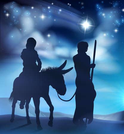 Geboortekerk Mary en Joseph Christmas Illustration