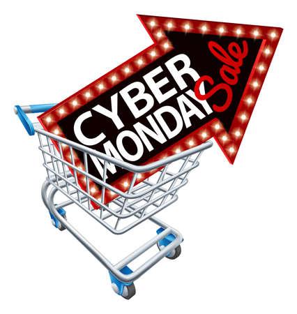 Shopping Trolley Cyber Monday Sale Sign Çizim