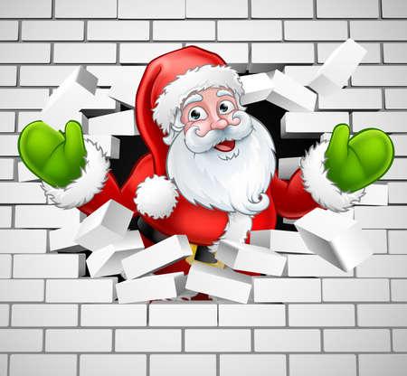 Santa Cartoon Breaking Through a Brick Wall Illustration