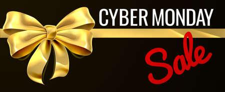 Cyber Monday Sale Gouden Gift Bow Ribbon Design Vector Illustratie