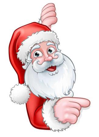 Cartone animato di Babbo Natale che punta da dietro il segno