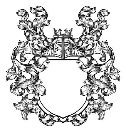 Heraldic crest design. Illustration