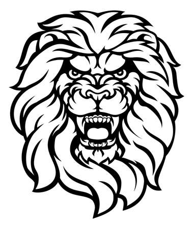 Roaring lion head illustration. Illustration