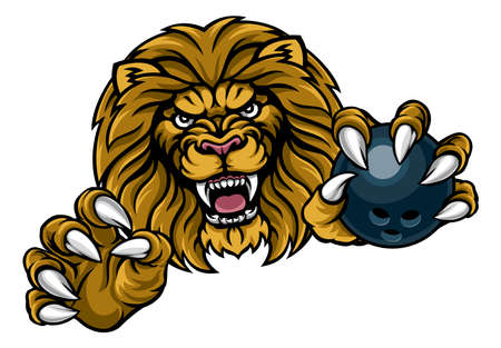 Lion Bowling Ball Sports Mascot