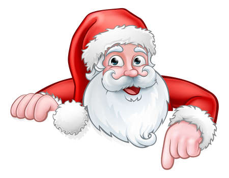 Dibujos animados de Santa apuntando hacia abajo desde atrás signo Ilustración de vector