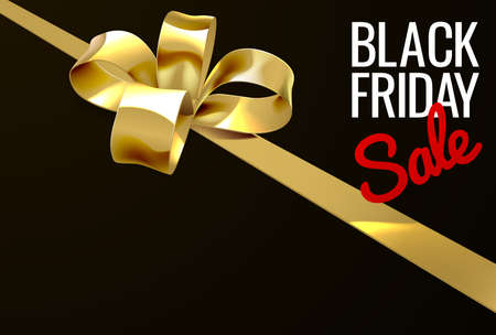 Black Friday Sale Gold Ribbon Gift Bow Design