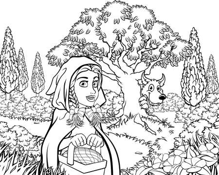 Fairytale Little Red Riding Hood Coloring Scene