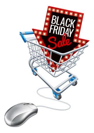 Vendita del venerdì nero online con carrello, computer, mouse Vettoriali