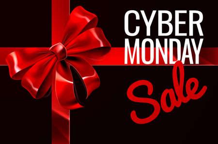 Cyber ??Monday Sale Gift Ribbon Bow Sign Foto de archivo - 88536200