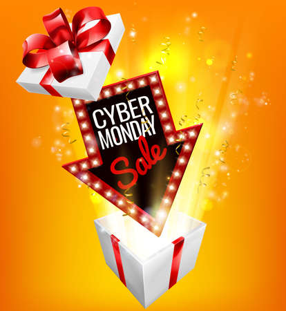 Cyber ??Monday Sale Exciting Gift Sign Foto de archivo - 88536202