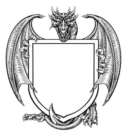 Godło heraldyczne herbu tarczy herbowej Dragon Crest Ilustracje wektorowe