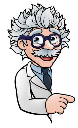 Scientist Cartoon Character Pointing Sign