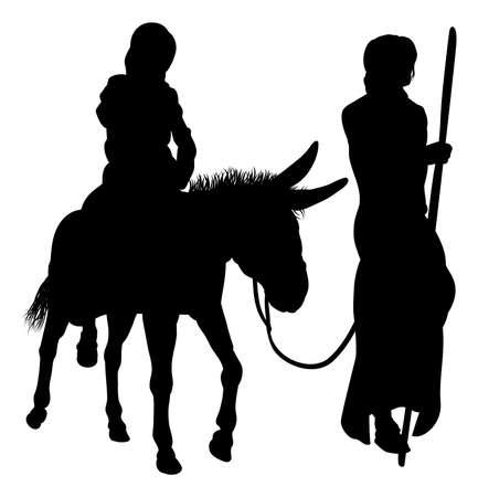 marie et bougies de la nativité silhouettes
