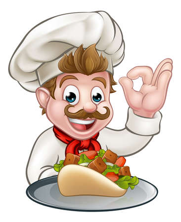 Cartoon Chef with Kebab Imagens