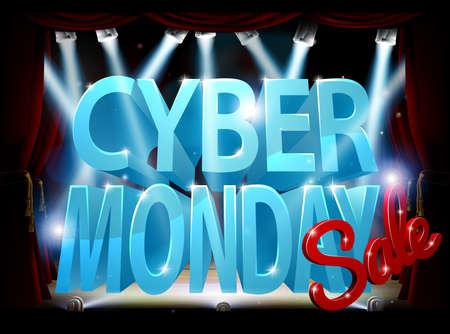 Cyber Monday Stage Sale Sign Çizim