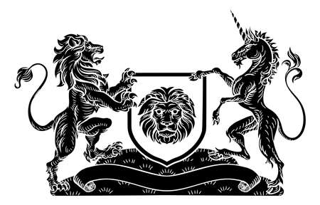 Unicorn and Lion Heraldic Coat of Arms Crest Illustration