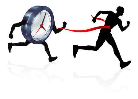 Reloj Finish Line Race Man Concept Ilustración de vector