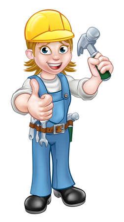 Vrouw Carpenter Holding Hammer