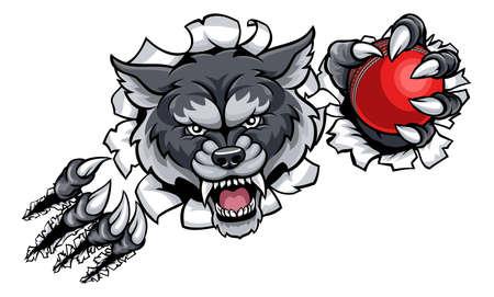 Wolf Cricket Mascot Breaking Achtergrond Stock Illustratie