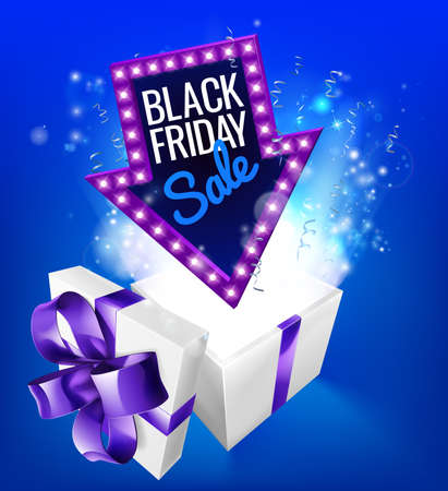 A blue Black Friday Sale arrow sign exploding out of a gift box with a purple ribbon bow Иллюстрация