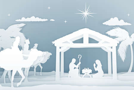 Nativity Christmas Scene Papercraft Style