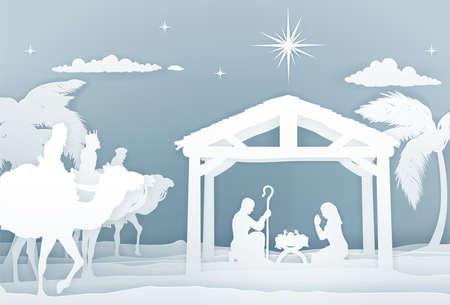 Scena di Natale della Natività Style di Papercraft