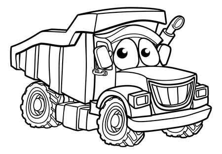 Dump benne camion camion dumper construction véhicule personnage de dessin animé Vecteurs