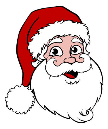 Santa Claus cartoon character Christmas illustration. Used only four colors including white and black and no effects such as gradients