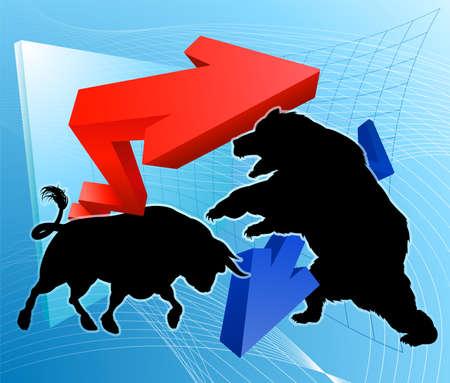 Bears Versus Bulls Stock Market Concept Иллюстрация