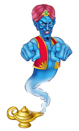 Una caricatura genie malvada como en la historia de Aladdin saliendo de una lámpara mágica y señalando con el dedo