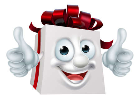 A Christmas or birthday gift present cartoon character mascot giving a thumbs up 向量圖像