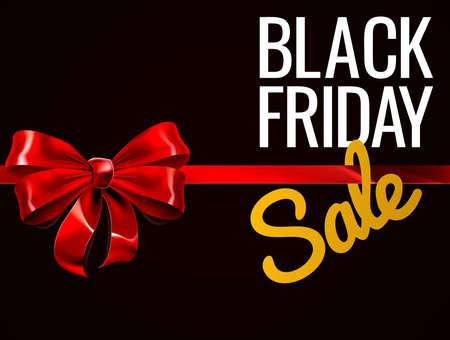 Black Friday Sale Red Gift Bow Sign Zdjęcie Seryjne - 89106643