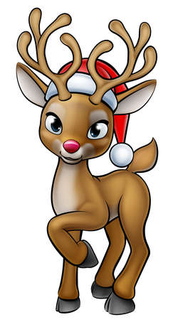 Cartoon Christmas Reindeer Wearing Santa Hat
