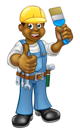 Black Painter Decorator Cartoon Character Illustration